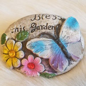 """Carved Hand Painted Rock """"Bless This Garden"""""""